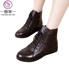 3cf1e741445a MUYANG MIE MIE Большой размер 35–43 зимняя женская обувь женские ботильоны  из натуральной кожи