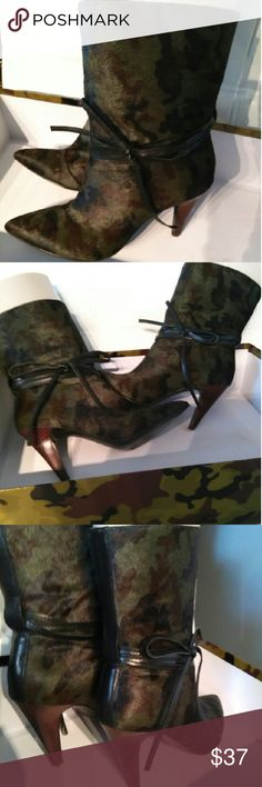 "Like new #Fabulous# booties by Nine West 100% pony hair/leather booties by Nine West. Trendy camo pattern.  Pull on style.   Worn once for a few hours.  3.5"" comfortable heel  8"" shaft, true to size  Original box included  Smoke free, fast shipping Nine West Shoes Ankle Boots & Booties"