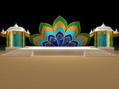 Wedding Stage Design, Stage Set Design, Set Design Theatre, Church Stage Design, Wedding Stage Decorations, Ganapati Decoration, Marriage Decoration, Buddhists, Exhibition Booth Design