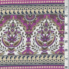 """Dark Fuchsia Pink, Magenta Purple, Maize Yellow, Olive Brown, Navy Blue, Beige & Tan Floral Print Voile Fabric  Suitable for Blouses  100% Cotton  60"""" Wide  Machine Washable Usually $12.00/yd.  $5.75 per yard"""