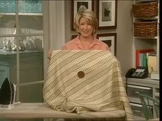 Martha Stewart retrofits her tablecloth with a hole in the center, to accommodate the umbrella hole in the center of her outdoor table.
