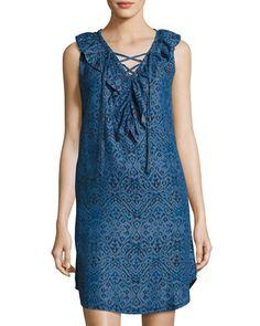NEIMAN MARCUS IKAT-PRINT SLEEVELESS CHAMBRAY DRESS, INDIGO. #neimanmarcus #cloth #