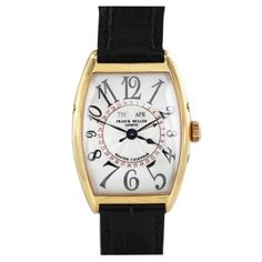 From Franck Muller, the Master of Complications, this 18K pink-gold automatic wristwatch from the 1990s Master Calendar series features black Arabic numerals, day and month apertures, dates in red, a sweep second hand, mechanical movement, and a tonneau-shaped, water-resistant case. All original with box.
