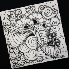 Zentangle - Artwork from Rebecca Kuan - Welcome to visit my FB Page:… Mandala Doodle, Tangle Doodle, Tangle Art, Mandala Drawing, Zen Doodle, Mandala Art, Doodle Art, Zentangle Drawings, Doodles Zentangles
