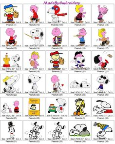 86 SNOOPY AND PEANUTS Machine Embroidery designs, Instant download by MadeByEmbroidery on Etsy