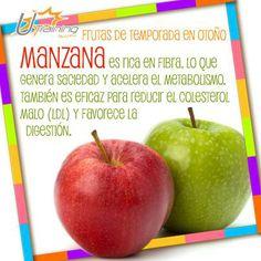 Las #Manzanas están de temporada y su alto contenido en fibra nos ayuda a acelerar el #metabolismo.