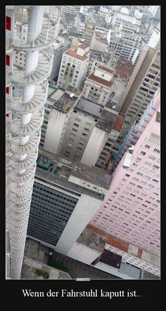 This fire escape is a 40 storey spiral staircase attached to the exterior of the building is part of exterior Stairs Fire Escape - More memes, funny videos and pics on Weird Pictures, Best Funny Pictures, Funny Images, Funny Pics, Fun Funny, Hilarious Memes, Creepy Photos, Oscar Niemeyer, Satisfying Photos