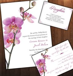 Dendrobium Orchid Wedding Invitations, Orchid Response Card, And Orchid  Reception/directions Card For