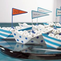 These mini metal sailboats are perfect nautical wedding favors, baby shower favors or table decorations for a beach themed event. Fill with 'life savers' for a themed party favor that floats everyone's boat. Nautical Wedding Favors, Summer Wedding Favors, Boat Wedding, Nautical Party, Wedding Ideas, Summer Weddings, Wedding Favours, Nautical Food, Wedding Reception