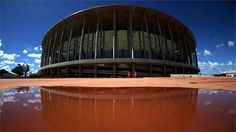 BRASILIA, BRAZIL - MAY 14: A general view of the exterior of the brand new National Mane Garrincha Stadium during the 2014 FIFA World Cup Host City Tour on May 14, 2013 in Brasilia, Brazil. (Photo by Friedemann Vogel - FIFA/FIFA via Getty Images)