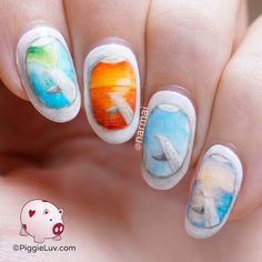 You can see the most amazing views from the windows of an airplane! Sunsets, cityscapes, oceans and sometimes you're smack dab in the middle of a cloud :-p I love painting landscape nail art with a little twist :) There's a video tutorial too, ofcourse!