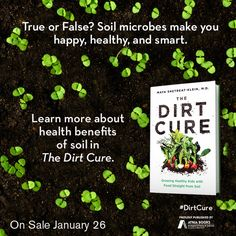 True or false? Soil microbes make us happy, healthy, and smart. TRUE!! Learn more about the amazing health benefits of soil in The Dirt Cure by Maya Shetreat-Klein, MD available January 26, 2016.