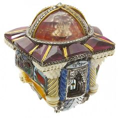 Temple of Hope ring with gemstones, carved bone, mother-of-pearl, porcelain and ebony in 24-carat yellow and rose gold and sterling silver by Sevan Bıçakçı