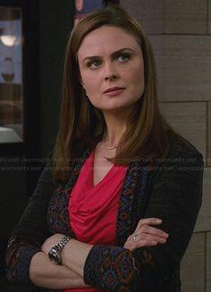 Brennan's grey cardigan with patterned trim on Bones.  Outfit Details: http://wornontv.net/29866/ #Bones