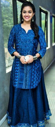 Long dark blue denim skirt with blue long top