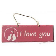"""Plaque en bois """" I Love You """" déco Chat sur fond Rose"""