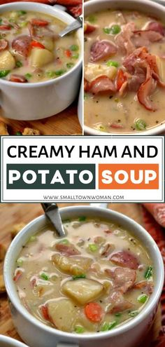 Make a hearty, wholesome weeknight meal in just 30 minutes! Creamy Ham and Potato Soup is a delectable combination of sweet ham and potato goodness in a creamy, lightly seasoned broth. The perfect comfort food for a healthy and filling dinner! Pin this for later!
