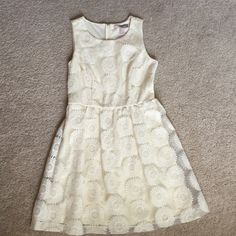 Forever 21 Contemporary Dress Cream color with embroidered flowers. Size XS but fits more like S/M. Only worn once. Forever 21 Dresses