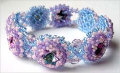 Rivolis in a Net Bracelet Beading Pattern - A project from Issue 24 (Jul/Aug 2009) Summer Issue of Bead-Patterns the Magazine at Sova-Enterprises.com!