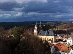 Blick von der Ludwigshöhe zur Basilika, Gößweinstein, Fränkische Schweiz, Bayern, Deutschland