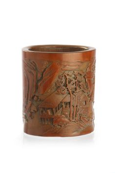 CHINESE BRUSH POTS | Chinese bamboo brush pot, carved in high relief with mountain ...