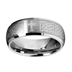 8mm Braid Pattern Laser Engraved Celtic Design with Cross Mens Tungsten Carbide Comfort-fit Wedding Band Ring (Size 8 to 14) - Size 12. Comfort-fit. Scratch-resistant. 30 day manufacturer return policy. Ships within one business day. Packaged in ring box.