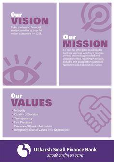 Vision Mission Poster for Brand Utkarsh Bank Ui Design, Design Trends, Graphic Design, Facebook Poster, Core Values, Coaching, Success, Branding, Marketing