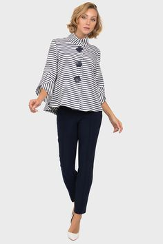 Joseph Ribkoff Navy/Off-White Jacket Style 191917 Off White Jacket, Joseph Ribkoff Dresses, Tulip Sleeve, Fashion Now, Jacket Style, What To Wear, Long Sleeve, Sleeves, Jackets