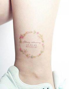 Sweet Tattoos, Mini Tattoos, Love Tattoos, Unique Tattoos, Flower Text, Flower Circle, Text Tattoo, Arm Tattoo, Tiny Tattoos For Girls