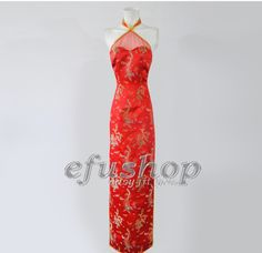 Halter-style red coloful dragon and phonix silk brocade cheongsam SCT267 - Custom-made Cheongsam,Chinese clothes, Qipao, Chinese Dresses, chinese clothing,EFU Tailor Shop