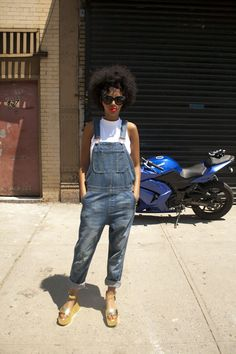 saada third looks 3 Third Looks Editorial: Selfie Involved Denim Overalls, Dungarees, Looks Style, Style Me, Fashion Shoot, Fashion Outfits, Lil Black, Solange Knowles, Music Festivals