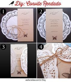 Aprenda como fazer convites de casamento usando toalha de papel rendada e papel craft. Wedding Cards, Diy Wedding, Rustic Wedding, Dream Wedding, Wedding Day, Wedding Stationary, Wedding Invitations, Photos Booth, Fruit Party