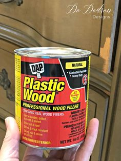 repair wood I use plastic wood filler by DAP for my small veneer issues before painting my furniture. Repair Wood Furniture, Wood Repair, Paint Furniture, Repurposed Furniture, Furniture Makeover, Outdoor Furniture, Furniture Dolly, Rustic Furniture, Furniture Refinishing