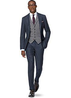 Suit Blue Birds Eye La Spalla P4715i | Suitsupply Online Store