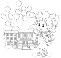 Back to School Coloring Pages - Sarah Titus Abc Coloring Pages, School Coloring Pages, Coloring Books, Kids Coloring, Printable Coloring, Children's Book Illustration, Character Illustration, Line Art Images, Line Art Vector