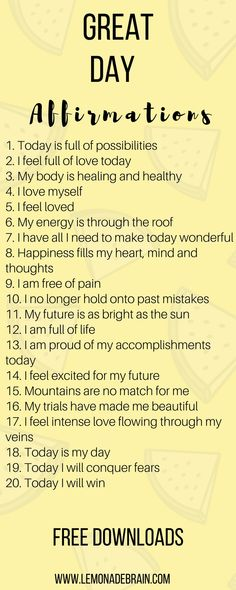 Affirmations are a great way to have a better day! Hey, I'm a poet and I didn't know it. Okay, I guess I do know it because I am a songwriter, to technically I am a poet. But enough about me, this post is about you! Affirmations have been life changing fo Positive Quotes For Life Happiness, Positive Thoughts, Positive Vibes, Mantra, Morning Affirmations, Daily Affirmations, Affirmations For Happiness, Positive Affirmations For Success, Positive Energie