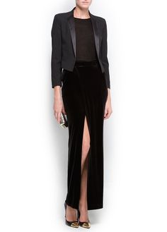 black velvet skirt with split