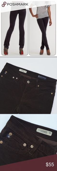 Adriano Goldschmied Skinny Straight pants Super cute pair of AG Premiere Skinny Straight pants in chocolate Corduroy. Perfect this spring! In excellent pre-worn condition. No trades! AG Adriano Goldschmied Pants Straight Leg