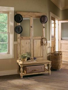 ▷ Decorating ideas for old doors - decoration to amaze- ▷ Ideen für alte Türen dekorieren – Deko zum Erstaunen wardrobe-old-door-in-suitcase of-a-house-for-hats-and-a- - Decor, Home Furniture, Entryway Decor, Home Decor, Hall Tree Storage Bench, Repurposed Furniture, Niche Decor, Kincaid Furniture, Old Doors