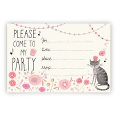 ◆A cute party invitation you can that that you can print yourself! Birthday Party Invitations Free, Printable Invitations, Printables, Kitty Party, 10th Birthday Parties, Cat Birthday, Dogs Party, Party Fiesta, Party Places