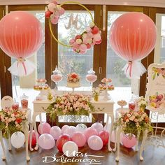 This beautiful set up by @missdeliciouza featuring our balloon hoop and giant tulle balloons Gorgeous blooms by @inbloomfloral_design