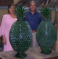 Mexican pineapple pottery in traditional dark green glaze.