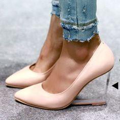 RMB 190 韩国女鞋正品代购时尚气质水晶透明跟高跟尖头单鞋坡跟进口女鞋-淘宝网
