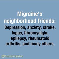 Migraine headache Many migraine sufferers also struggle with these neighborhood chronic illnesses. Chronic Fatigue Syndrome Diet, Chronic Fatigue Symptoms, Chronic Migraines, Chronic Pain, Chronic Illness, Rheumatoid Arthritis, Headache Remedies, Migraine Quotes, Fibromyalgia