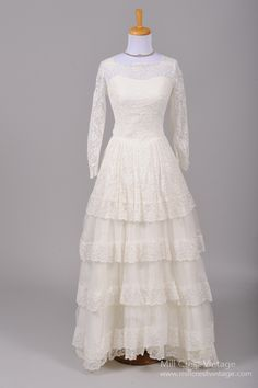 1950 Tulle Lace Vintage Wedding Gown : Mill Crest Vintage