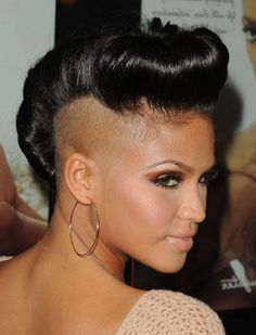 Black Pompadour Updo for mohawk or undercut