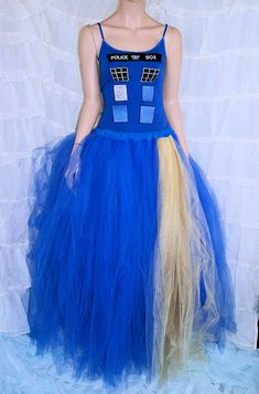 Royal Blue and Gold Doctor Who Inspired TARDIS Formal Wedding Skirt