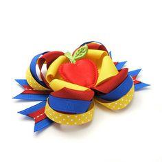 Snow White Hair Bow, Apple Bow, Boutique Bow, MTM Snow White Bow, Princess Bow, Poison Apple, Red, Yellow, Blue. $9,75, via Etsy.