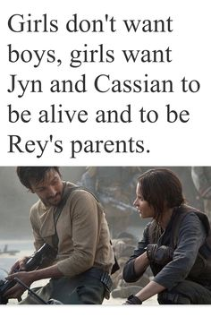 Jyn and Cassian Andor and then Rey could be Rey Andor or Rey Erso like they both work!! Come on Disney we need this