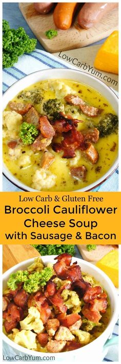 A hearty broccoli cauliflower cheese soup loaded with chunky add ins. Using a few varieties of sausage as well as bacon really ups the flavor! #lowcarbsoup #lowcarbrecipe
